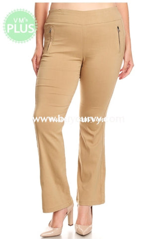 Bt-V Solid Knit Khaki Pants With Flared Leg & Zipper Detail Sale!! Bottoms