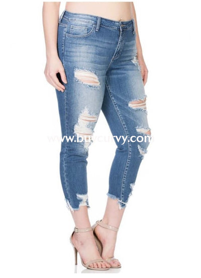 Bt-W {Beale Street} Ripped Crop Skinny Jeans {Stretchy!} Bottoms