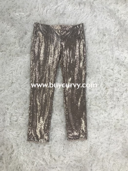 Bt-W Gold Jewel Sequin Full Length Pants With Elastic Waistband Runs Small Bottoms
