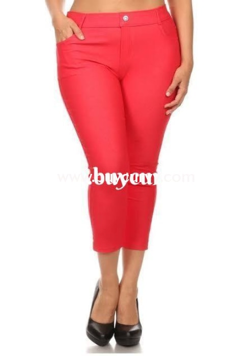 Bt-W Red Rhinestone Button Detail Sale! 1X Bottoms
