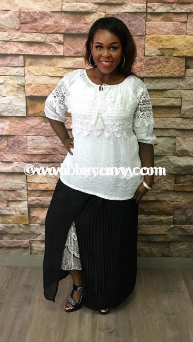 Bt-Y Black Pleated Split Maxi White Lace Slip Detail Sale! Bottoms