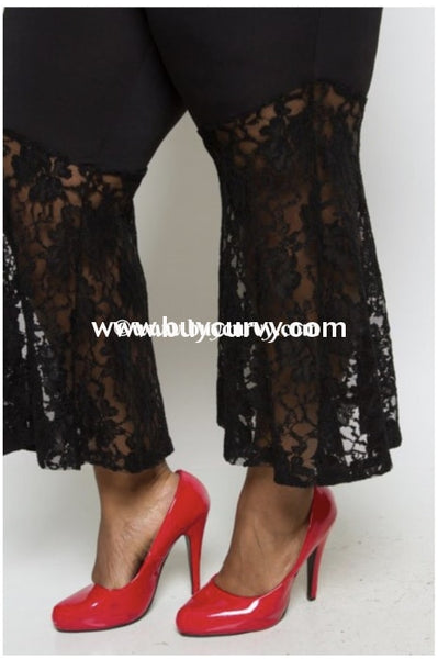 Bt-Y {Love Jane} Black Wide Leg Pants With Lace Bottom Bottoms