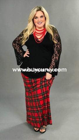 Bt-Z {Legends Never Die} Long Red Plaid Skirt Bottoms