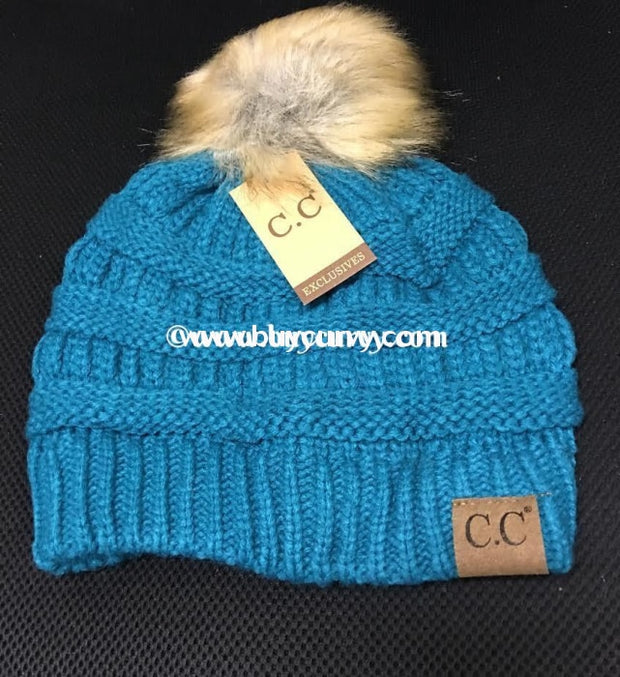 C.c. Beanie With Fur Ball~ Teal Hats