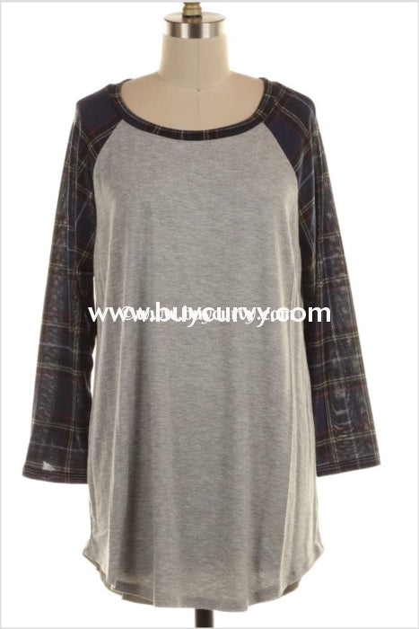 Cp-A {Amplify Hope} Gray Navy Plaid Sleeves Sale!! Contrast