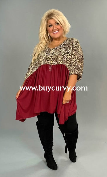 Cp-A {Pennies From Heaven} Leopard Burg Contrast Tunic Extended Plus