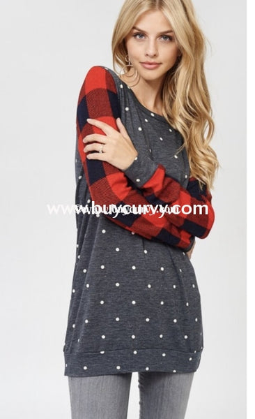 Cp-A (Take Your Time} Charcoal Polka-Dot Top With Plaid Sleeves Contrast