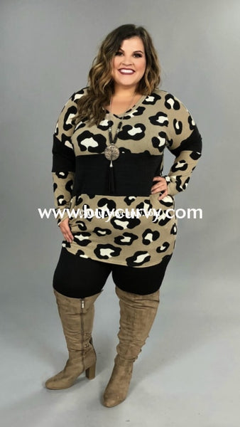 Cp-B {Always A Lady} Taupe Leopard Contrast Knit Tunic
