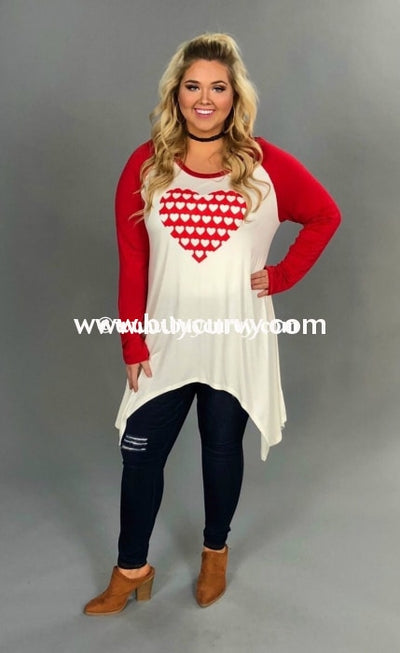 Cp-B Ivory With Red Sleeves And Polka Dot Heart Detail Sale!! Contrast