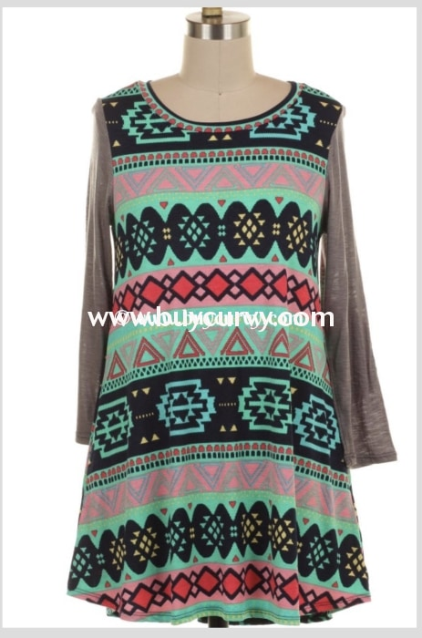 Cp-B {One More Chance} Mint/pink Funky Gray Sleeves Top Extended Plus Contrast