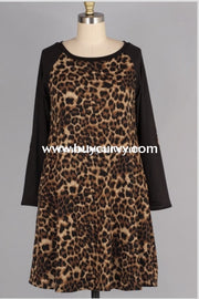 Cp-B {Stylish Spirit} Leopard Knit Dress With Black Sleeves Contrast