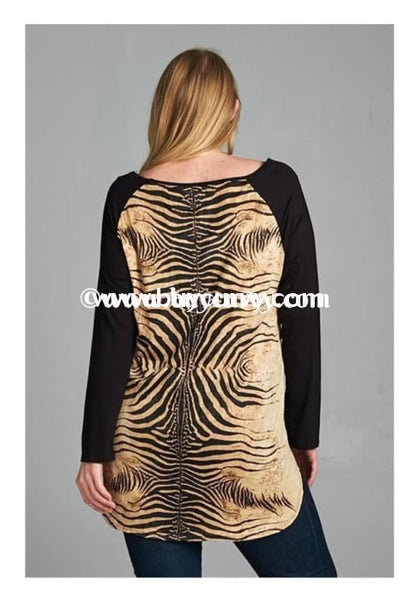 Cp-C Animal Print Raglan Top With Contrast Sleeves