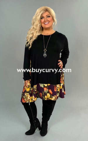 Cp-C {Shes Classic} Black With Floral Side & Border Extended Plus Sale!! Contrast