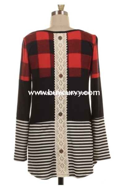 Cp-D {All Over Town} Red Plaid Tunic With Contrast Stripes Extended Plus