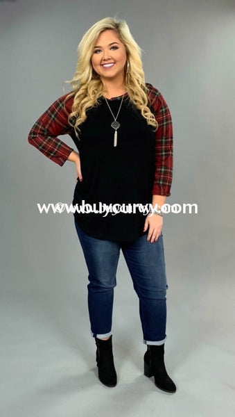 Cp-D {Amplify Hope} Black Burgundy Plaid Sleeves Sale!! Contrast