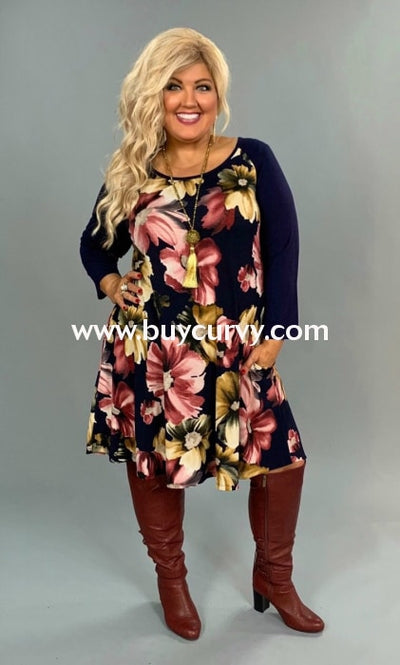 Cp-D {Happy To Be Here} Navy Floral Dress With Pockets Contrast