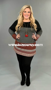 Cp-D {Jack In The Box} Ethnic Print Contrast Black/burg Sale!!