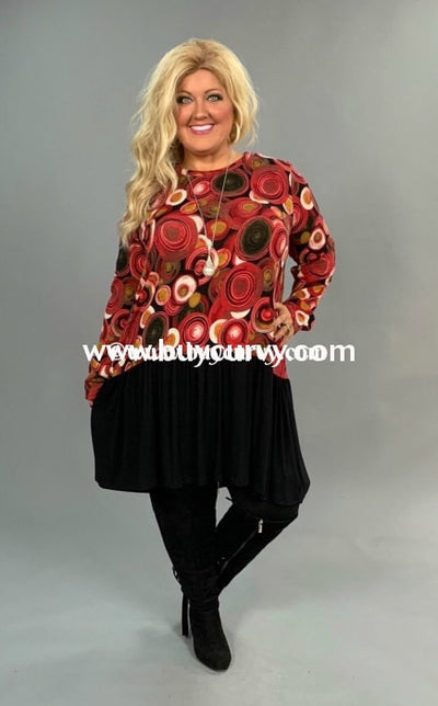 Cp-D {Rolling In The Deep} Burgundy Circle Print Contrast Tunic