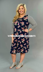 Cp-E {Dont Make Me Cry} Navy Floral Print Striped Sleeves Tunic Contrast