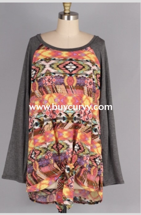 Cp-E {Im With The Band} Coral Aztec Print Top Gray Contrast