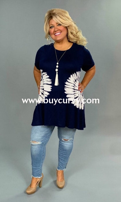 Cp-F {Blue Lagoon} Navy Tunic With Star-Burst Tie-Dye Detail Contrast