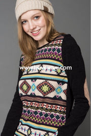 Cp-F {Dream Catcher} Black/multi-Print Knit Extended Plus Sale!! Contrast