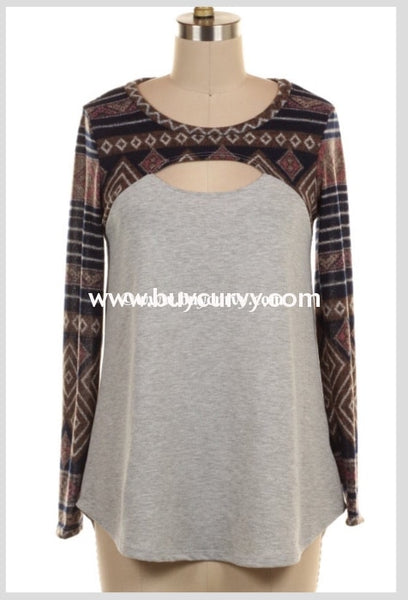 Cp-F Gray/navy Aztec Print With Keyhole Detail Sale! Contrast
