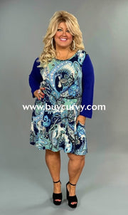Cp-F {La-La Land} Blue Paisley Print Dress With Side Pockets Contrast