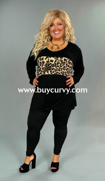 Cp-F {Speak To Me} Black Front-Tie Top With Leopard Contrast Extended Plus