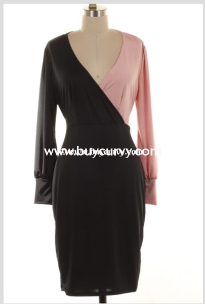 Cp-F {Take Your Breath Away} Mauve/black V-Neck Dress Contrast