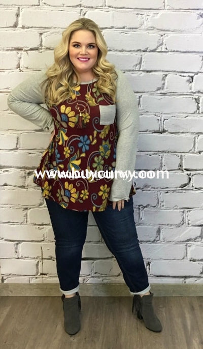Cp-H Burgundy Floral Top With Gray Sleeves & Pocket Contrast