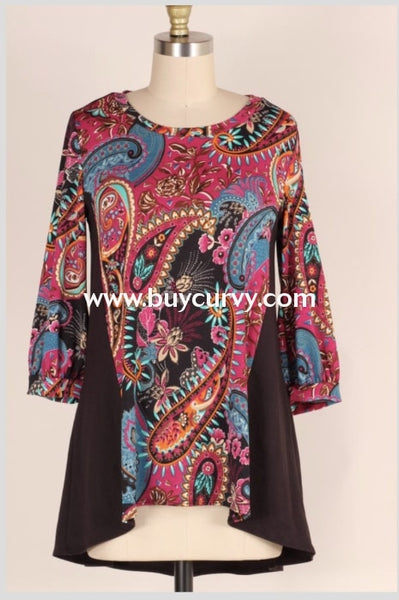 Cp-H {Copy My Style} Magenta Paisley Top With 3/4 Sleeves Contrast