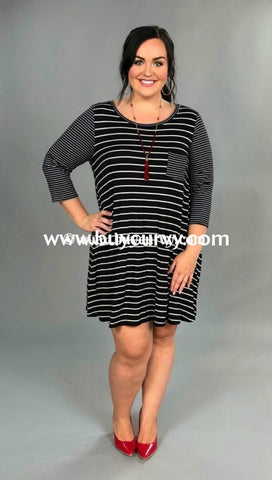 Cp-H {Simple Beauty} Extended Plus Black Striped Dress Contrast