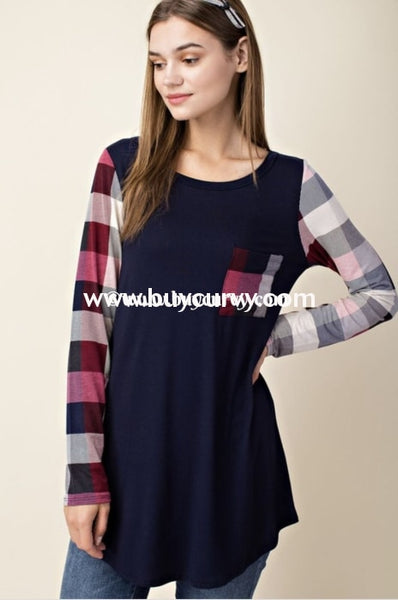 Cp-H {Stay Tuned} Navy Top With Plaid Sleeves & Pocket Contrast