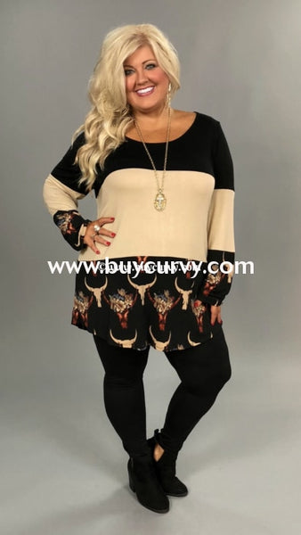 Cp-I {Country Lovin} Taupe/black Floral Bull Contrast Top