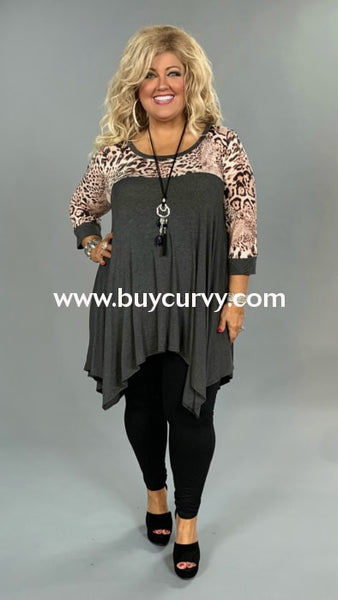 Cp-I {Dance In The Rain} Asymmetrical Gray Leopard Extended Plus Contrast