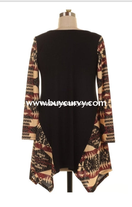 Cp-J Black Asymmetrical Beige/burgundy Tunc With Aztec Sleeves Contrast