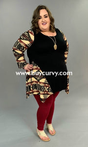 Cp-J {Extended Plus} Black With Beige/burgundy Aztec Sleeves Sale!! Contrast