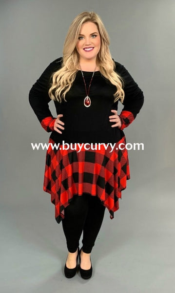 Cp-K {Extended Plus} Black/red Plaid Tunic Dress Pockets Contrast