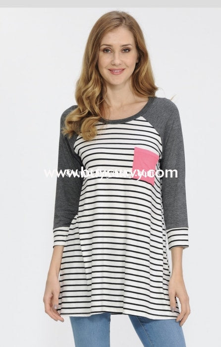 Cp-K Striped Top Charcoal 3/4 Sleeves & Pink Pocket {Extended Plus} Contrast