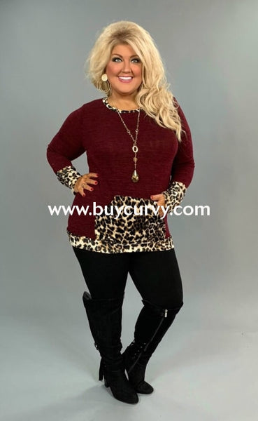 Cp-M Burgundy Knit With Velvet Leopard Detail Sale!! Contrast
