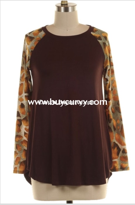 Cp-N {Always My Favorite} Brown With Animal Print Sleeves Sale!! Contrast