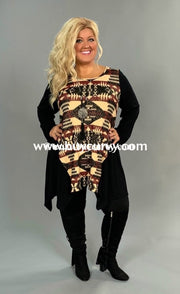 Cp-N Beige/burgundy Aztec Print Tunic With Black Sleeves Contrast