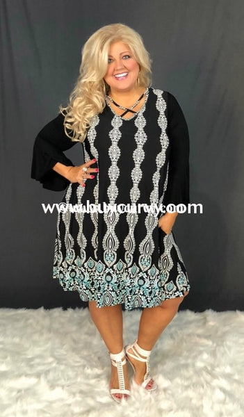 Cp-N Black/white & Teal Criss-Cross Dress With Pockets Contrast