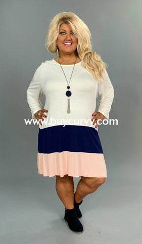 Cp-N {Extended Plus} Navy & Peach Color Layered Dress Contrast