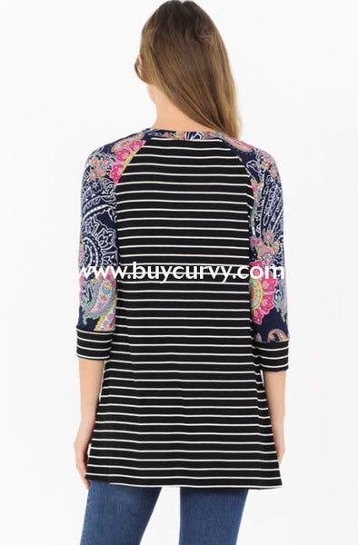 Cp-N {Spring Fever} Black Striped Top With Printed Sleeves Extended Plus Contrast