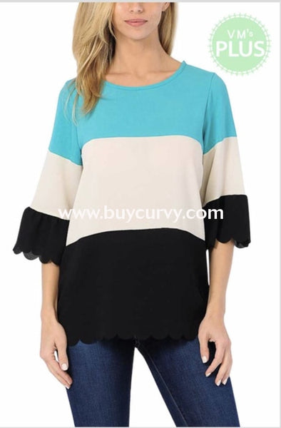 Cp-O {Block Party} Teal Contrast Print Top With Scalloped Hem