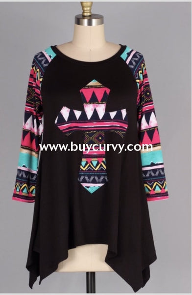 Cp-P {Eat-Pray-Love} Black Tunic Contrast Print Cross/sleeves