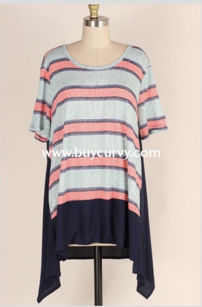 Cp-Q {Lets Be Friends} Navy/coral Striped Asymmetrical Tunic Contrast