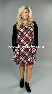 Cp-R {Changed My Life} Berry/multi-Plaid Knit Contrast Dress Extended Plus
